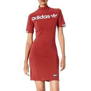 Adidas NWT Hi Collar Zip Tee Dress Burgundy Red XS